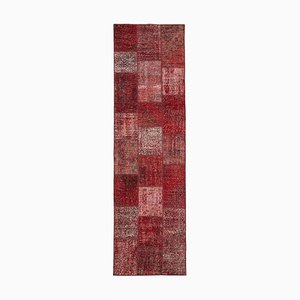 Red Anatolian Wool Hand Knotted Runner Patchwork Carpet
