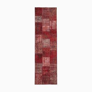 Roter Anatolischer Handgeknüpfter Läufer Patchwork Teppich aus Wolle