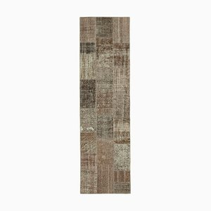 Brown Anatolian Decorative Hand Knotted Runner Patchwork Carpet