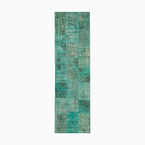 Vintage AnatolianTurquoise Hand Knotted Runner Patchwork Carpet