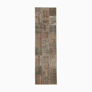 Alfombra anatoliana tradicional de patchwork con tapicería anudada a mano
