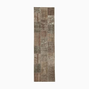 Brown Anatolian Traditional Hand Knotted Runner Patchwork Carpet