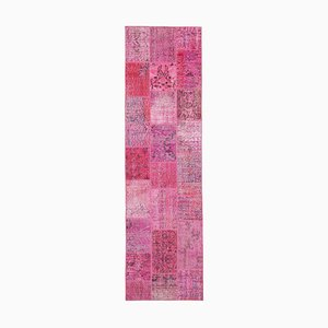 Pink Oriental Antique Hand Knotted Runner Patchwork Carpet