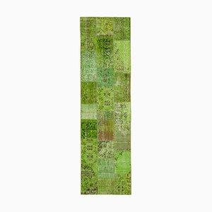 Vintage Oriental Green Hand Knotted Runner Patchwork Carpet