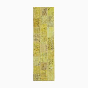Vintage Turkish Yellow Handmade Runner Patchwork Carpet
