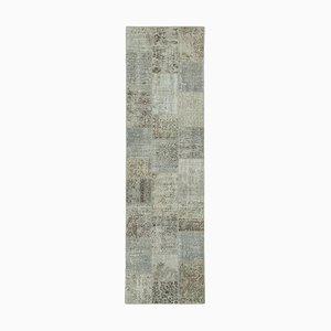 Tappeto grigio anatolico fatto a mano con patchwork runner