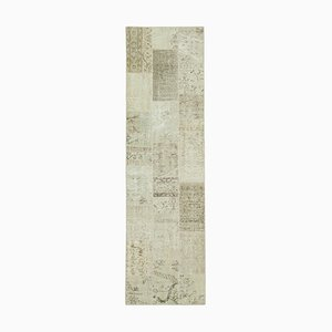 Beige Anatolian Low Pile Hand Knotted Runner Patchwork Carpet