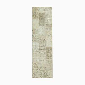 Niedriger Anatolischer Niedriger Floraler Handgeknüpfter Patchwork Teppich