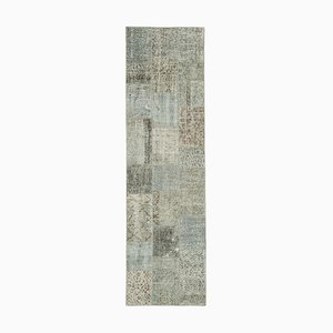 Grey Anatolian Decorative Hand Knotted Runner Patchwork Carpet