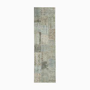 Tappeto decorativo anatolico grigio decorato a mano con motivo a quadri
