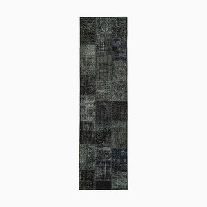 Black Turkish Wool Handmade Runner Patchwork Carpet