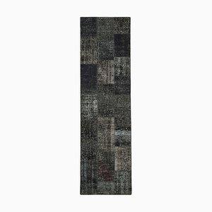 Black Turkish Low Pile Handmade Runner Patchwork Carpet