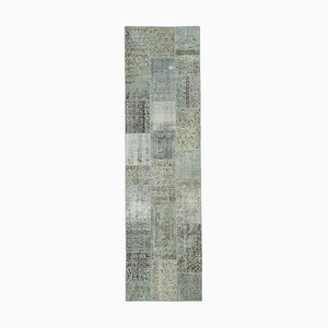 Blue Anatolian Wool Hand Knotted Runner Patchwork Carpet