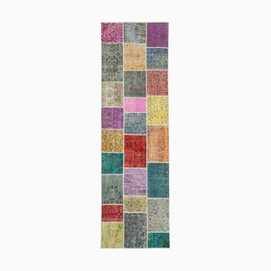 Multicolor Anatolian Low Pile Hand Knotted Runner Patchwork Carpet