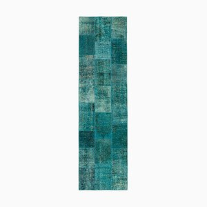Turquoise Anatolian Decorated Hand Knotted Runner Patchwork Carpet