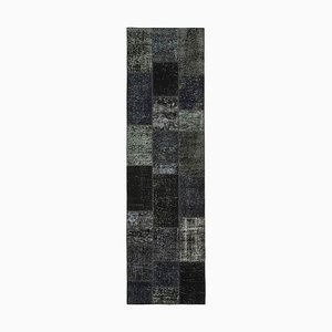 Black Oriental Decorative Hand Knotted Runner Patchwork Carpet