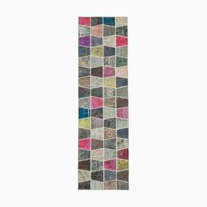 Vintage Oriental Multicolor Hand Knotted Runner Patchwork Carpet