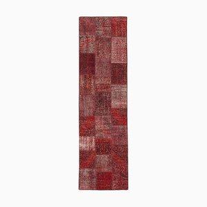Red Turkish Antique Handmade Runner Patchwork Carpet