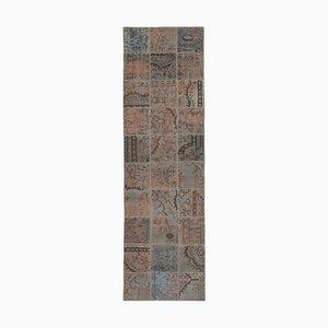 Alfombra de pasillo de patchcar anatolian multicolor anudada a mano