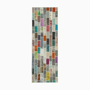 Vintage Anatolian MulticolorHand Knotted Runner Patchwork Carpet