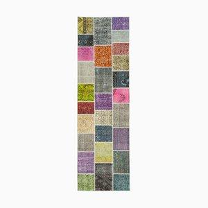Mehrfarbiger Anatolischer Handgeknüpfter Traditioneller Läufer Patchwork Teppich
