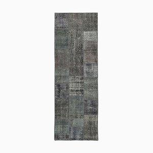 Grey Oriental Antique Hand Knotted Runner Patchwork Carpet