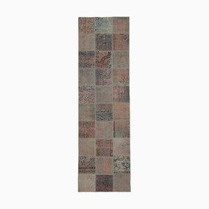 Grauer Niedriger Handgeknüpfter Türkischer Patchwork Teppich aus Türkei