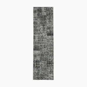 Grey Anatolian Antique Hand Knotted Runner Patchwork Carpet