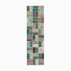 Multicolor Anatolian Antique Hand Knotted Runner Patchwork Carpet