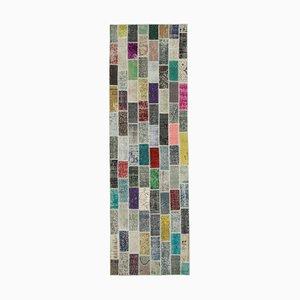 Floraler Anatolischer Patchwork Teppich mit Handgemustertem Floralen Muster in Bunt Optik