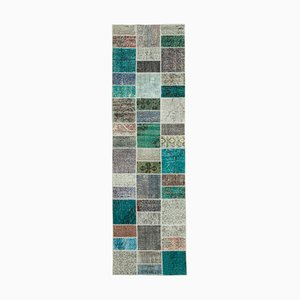 Multicolor Anatolian Decorative Hand Knotted Runner Patchwork Carpet