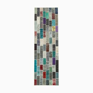 Multicolor Anatolian Traditional Hand Knotted Runner Patchwork Carpet