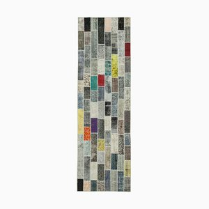 Multicolor Oriental Decorative Hand Knotted Runner Patchwork Carpet