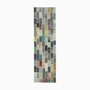 Vintage Multicolor Oriental Hand Knotted Runner Patchwork Carpet