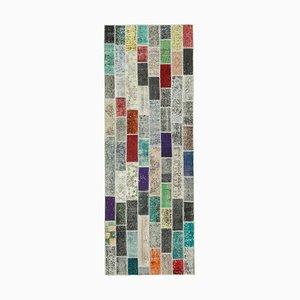 Multicolor Turkish Low Pile Handmade Runner Patchwork Carpet
