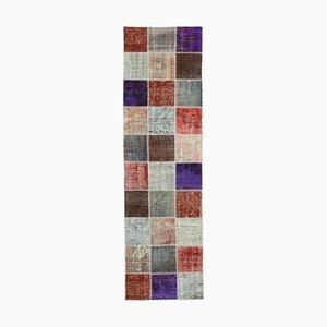 Vintage Turkish Multicolor Handmade Runner Patchwork Carpet