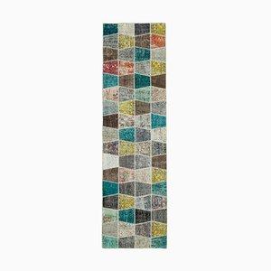 Anatolischer mehrfarbiger Handgeknüpfter Vintage Patchwork Teppich