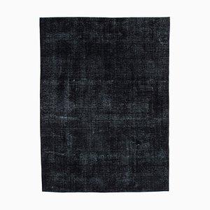 Black Turkish Antique Handmade Large Overdyed Carpet
