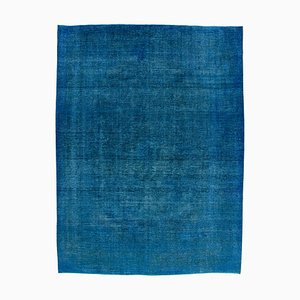 Blue Anatolian Low Pile Hand Knotted Large Overdyed Carpet
