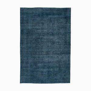 Blue Anatolian Decorative Hand Knotted Large Overdyed Carpet