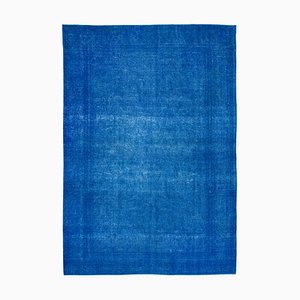 Blue Anatolian Traditional Hand Knotted Large Overdyed Carpet