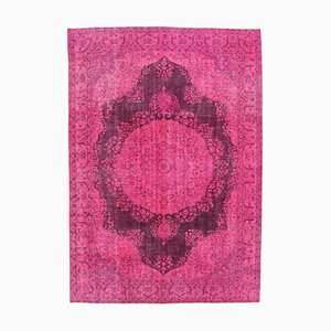 Pink Anatolian  Antique Hand Knotted Large Overdyed Carpet