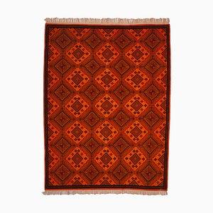 Orange Anatolischer Niedriger Floraler Handgeknüpfter Überfärbter Teppich