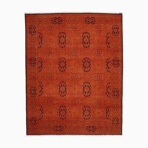 Orange Anatolian Decorative Hand Knotted Large Overdyed Carpet