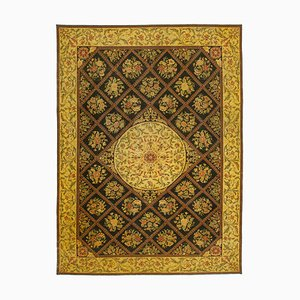 Yellow Anatolian Traditional Hand Knotted Large Overdyed Carpet