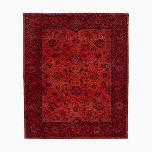 Orange Oriental Antique Hand Knotted Large Overdyed Carpet