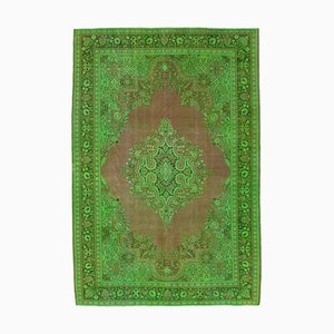 Large Vintage Turkish Green Handmade Overdyed Carpet