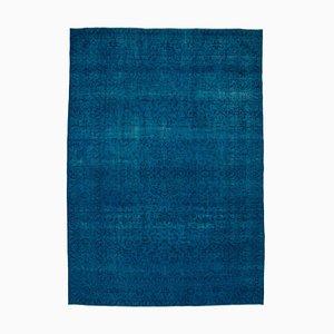Turquoise Anatolian Wool Hand Knotted Large Overdyed Carpet