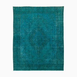Turquoise Anatolian Low Pile Hand Knotted Large Overdyed Carpet