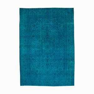 Turquoise Anatolian Traditional Hand Knotted Large Overdyed Carpet